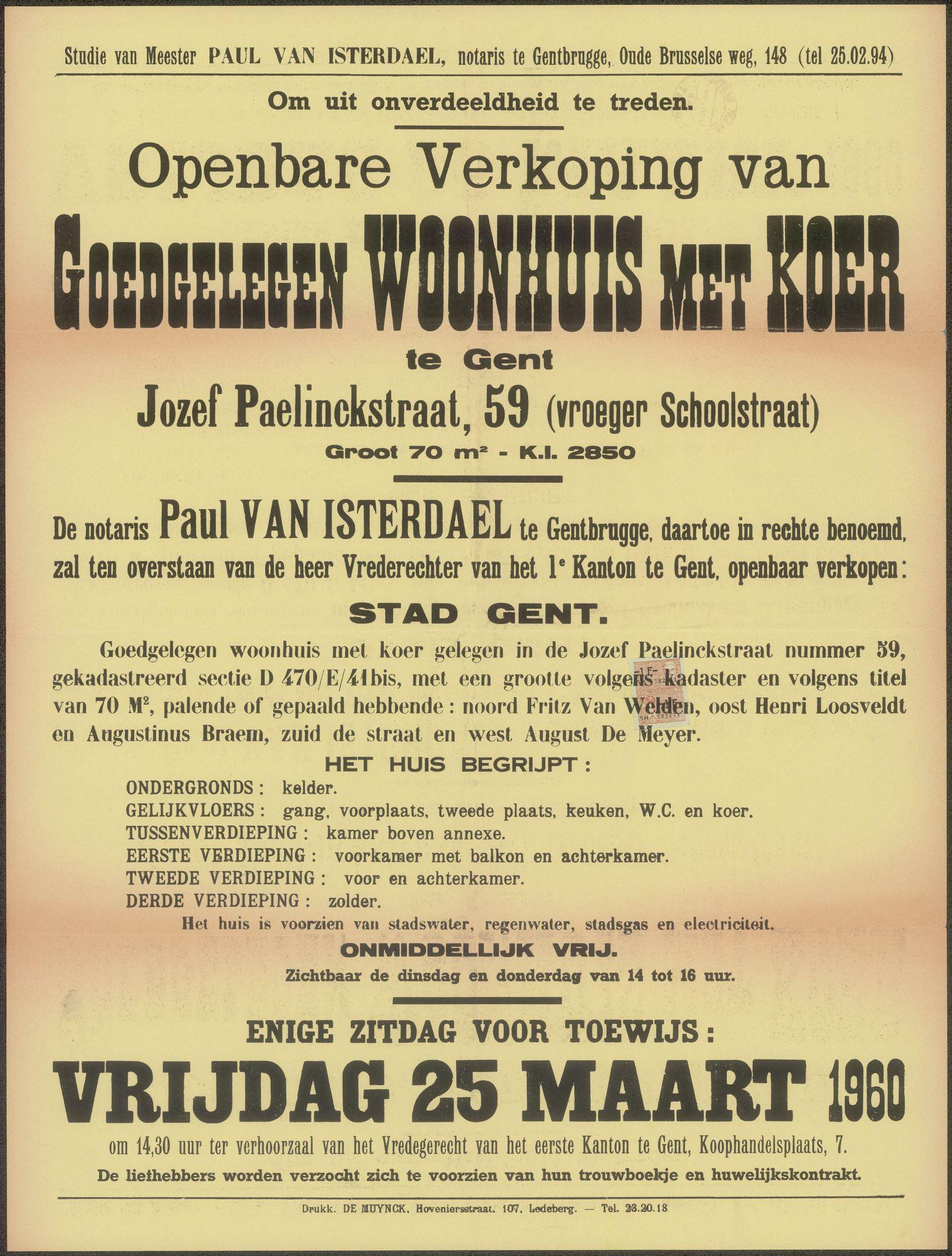 Openbare verkoop van goedgelegen woonhuis met koer te Gent, Jozef Paelinckstraat, nr. 59 (vroeger Schoolstraat), Gent, 25 maart 1960