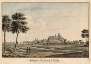 Gent: Doornzeleklooster en Sint-Salvatorkerk, zicht vanuit het noorden (Dok Noord)