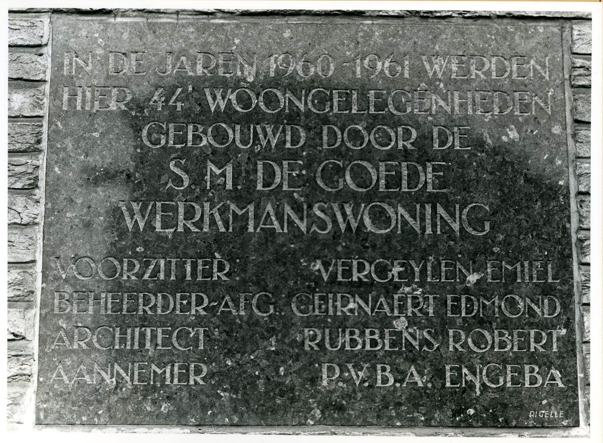 Gent: Nimfenstraat: Gedenksteen, 1979