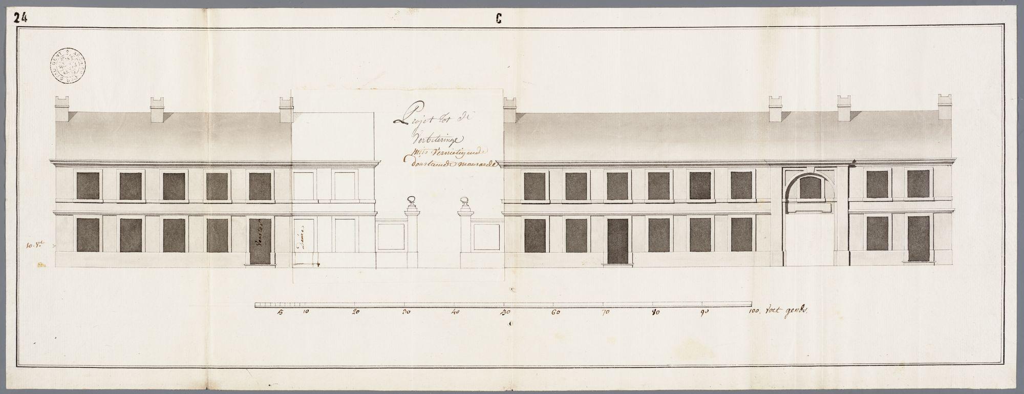 Gent: Buiten de Brugse Poort, 1782: opstand voorgevel: oude en nieuwe toestand