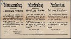 Bekanntmachung, Alkoholische Getränke | Bekendmaking, Alkoolische Dranken | Proclamation, Boissons Alcooliques.