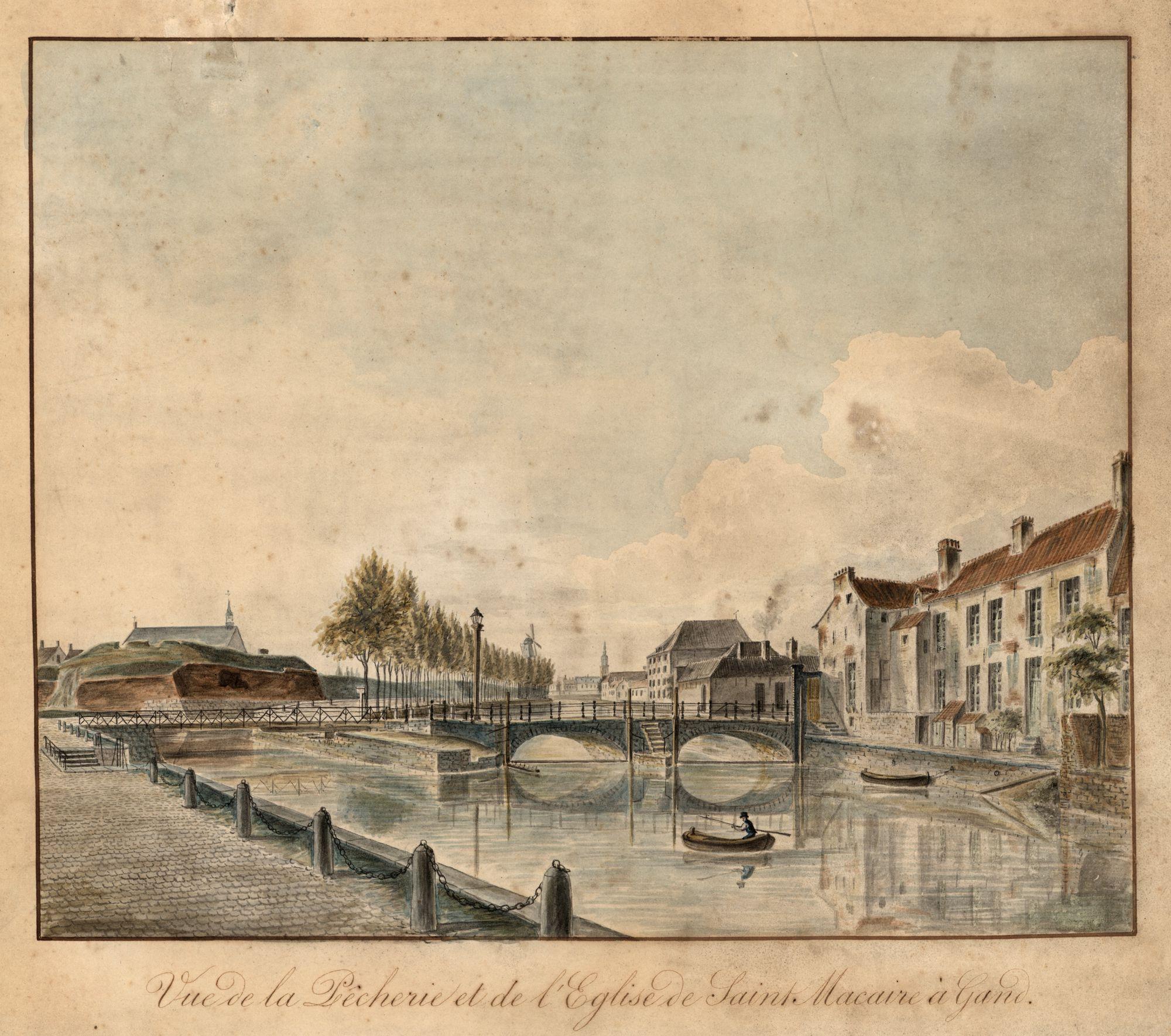 Gent: Tussen 't Pas met Pasbrug, Visserij en ruïnes van het Spanjaardenkasteel