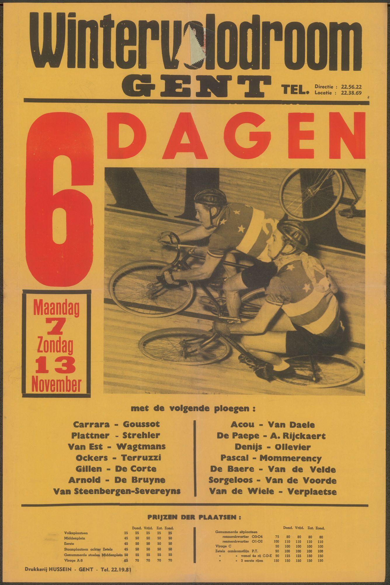 6 dagen, Wintervelodroom Gent, maandag 7 - zondag 13 november 1955