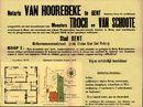 Openbare verkoop van woonhuis te Gent, Schoonmeersstraat, nr.8, perceel weiland te Gent, nabij de Voskenslaan en perceel bouwgrond te Bredene-aan-Zee, Muguettenlaan