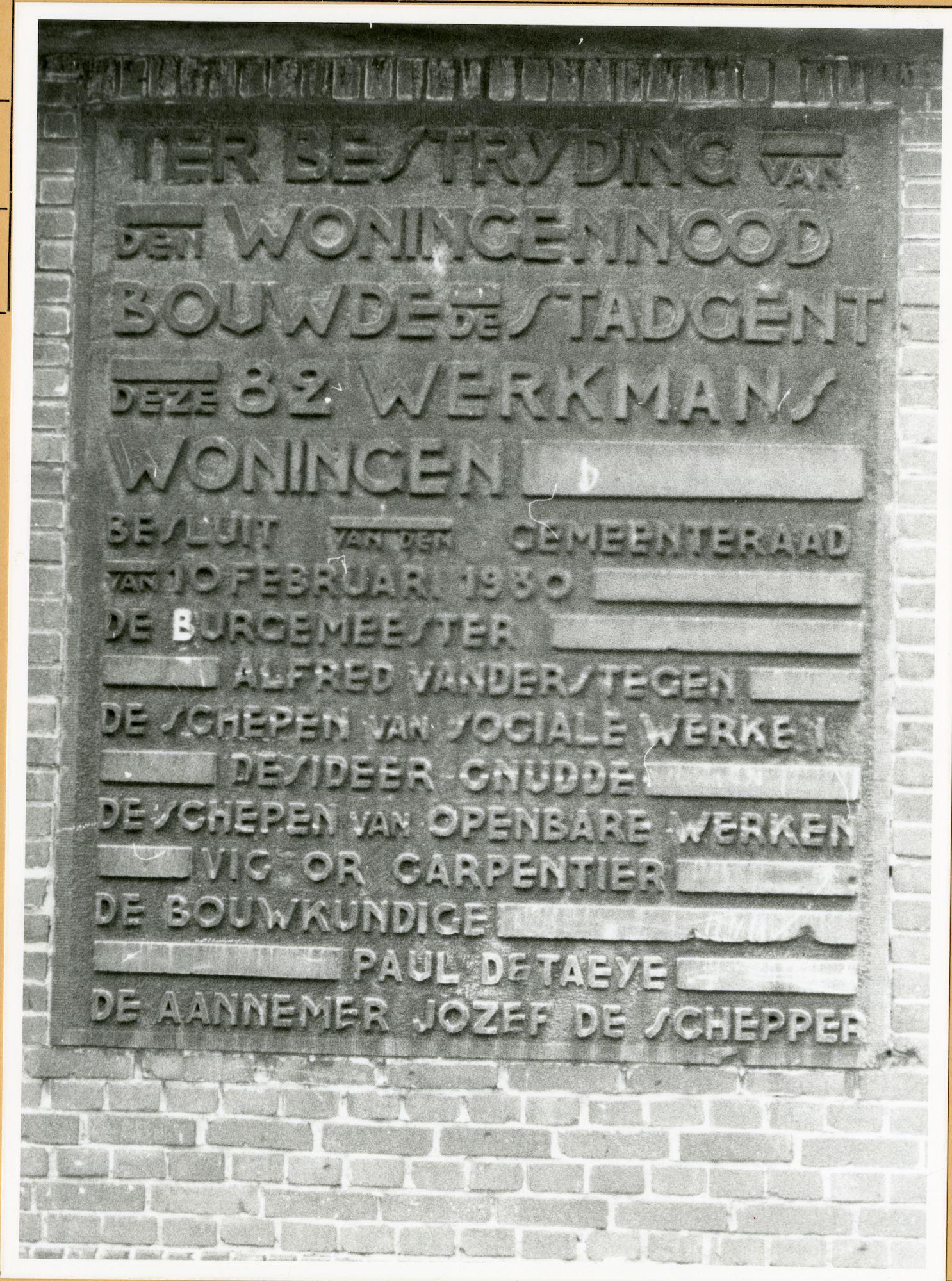 Gent: Jan Lampensstraat: Gedenksteen, 1979