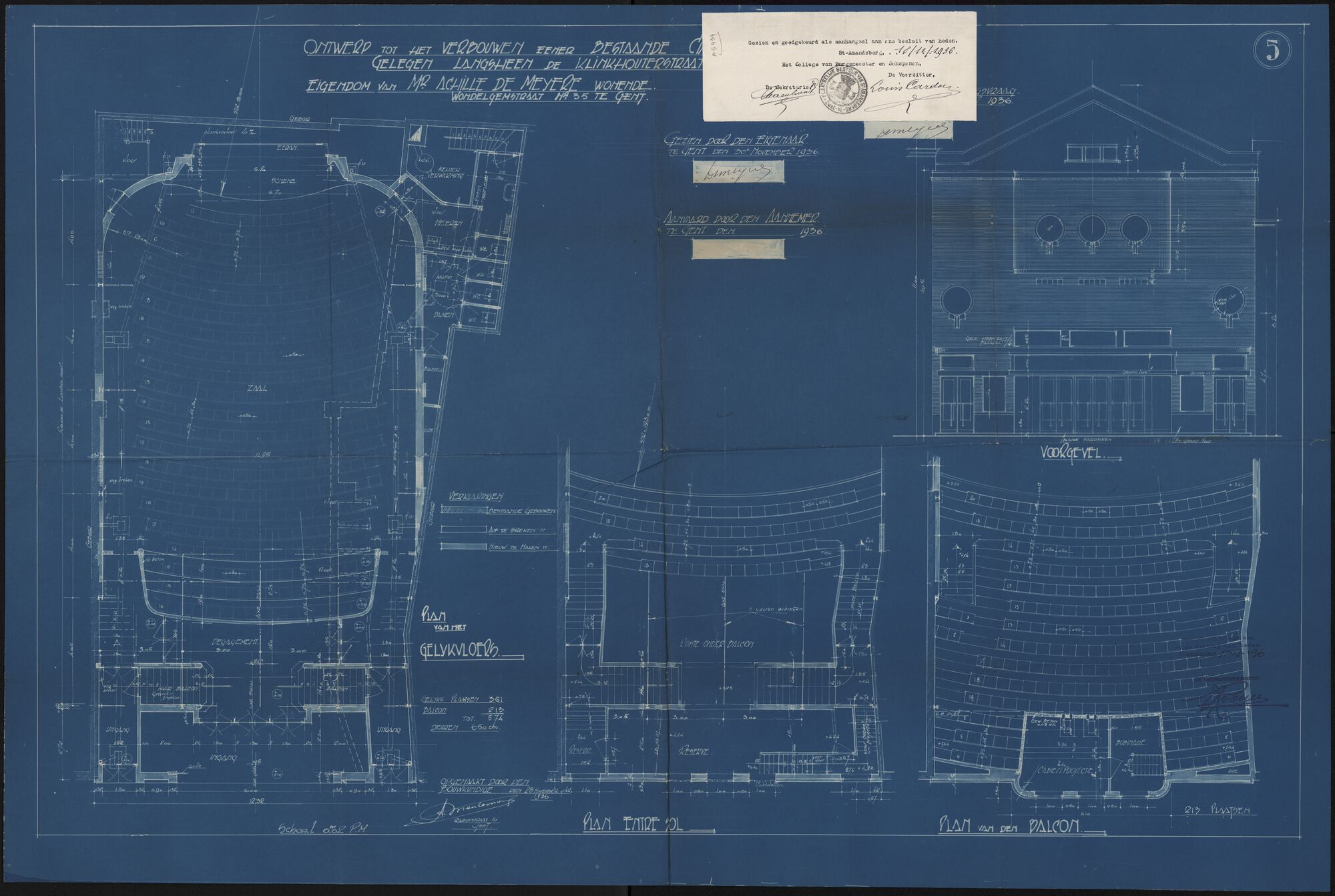 Sint-Amandsberg: Heernisplein - Klinkkouterstraat: cinema Metropole: bouwdossier, 1936