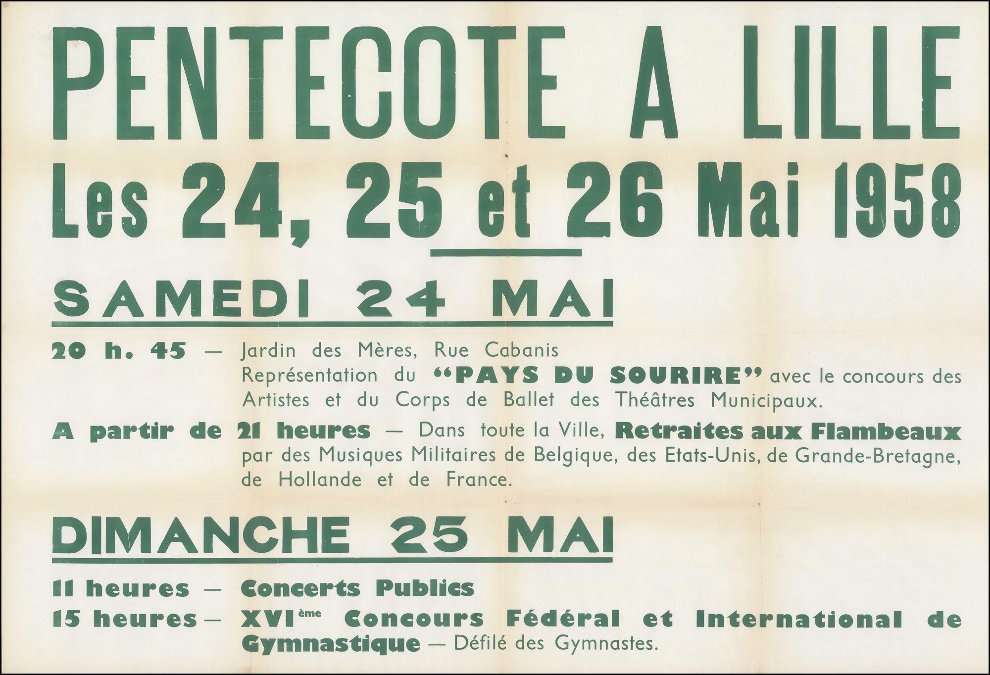 Pentecôte à Lille (Pinksteren in Rijsel), Rijsel, 24 mei - 25 mei 1958