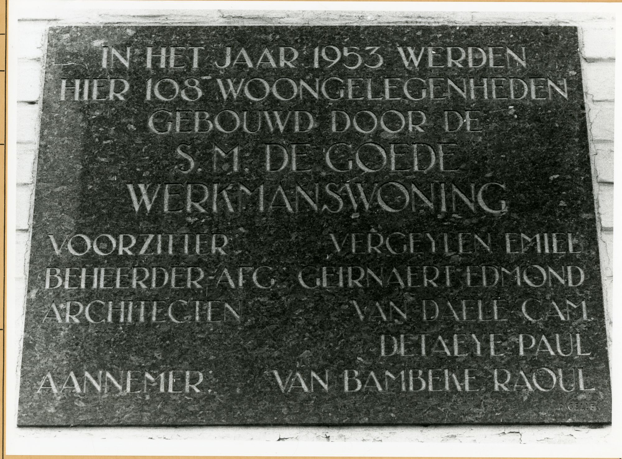 Gent: Breendonkstraat 11: Gedenkplaat: goede werkmanswoning, 1979