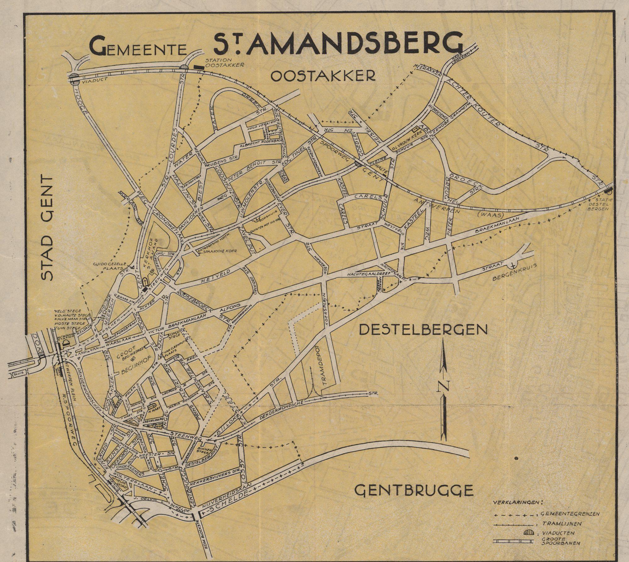 Kaart van de gemeente Sint-Amandsberg, c.1950