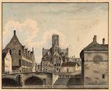 Gent: Wijdenaard (nu Bisdomplein), Kuldershuis (jongensweeshuis) en Sint-Baafskathedraal (koor)