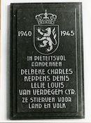 Gent: Coupure Links 533: Faculteit van de Landbouwwetenschappen: gedenkplaat: Wereldoorlog II
