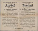 Gouvernement Militaire de la Flandre-Orientale, Arrêté concernant les réunions publiques | Krijgsgouvernement van Oost-Vlaanderen, Besluit betreffende de openbare vergaderingen