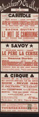 Waarheen? Où aller? Filmvertoningen in Capitole, Savoy,Cirque, Gent, 28 januari - 3 februari 1938