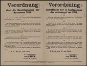 Verordnung über die Beschlagnahme der Nussernte 1916 | Verordening betreffende het in beslagnemen des notenoogst van 1916.