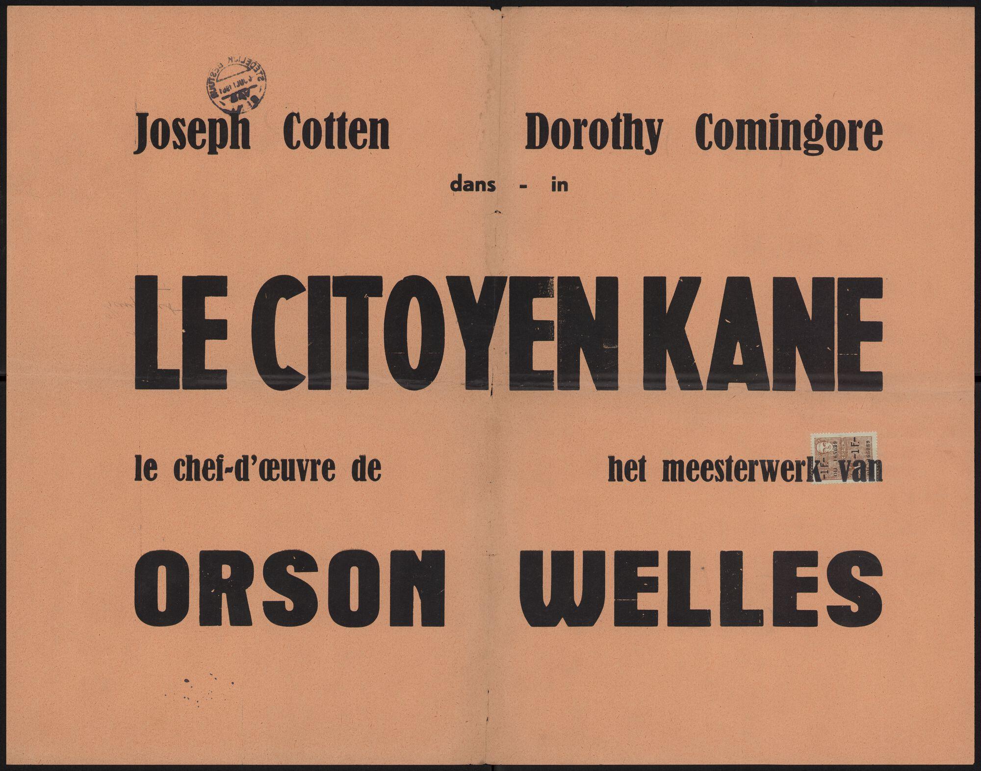 Le citoyen Kane, [Gent], juli 1961