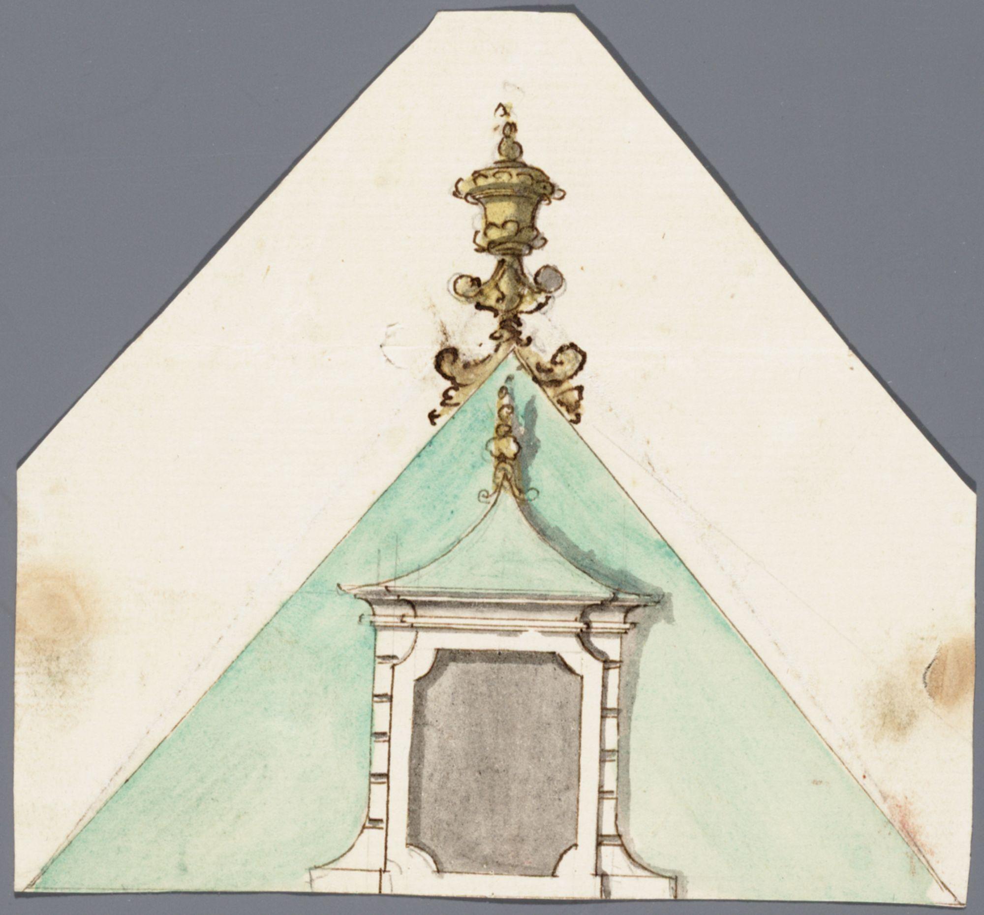 Gent: Sint-Baafskerkhof (nu Sint-Baafsplein - Kapittelstraat), 1740: opstand dakgevel: nieuwe toestand