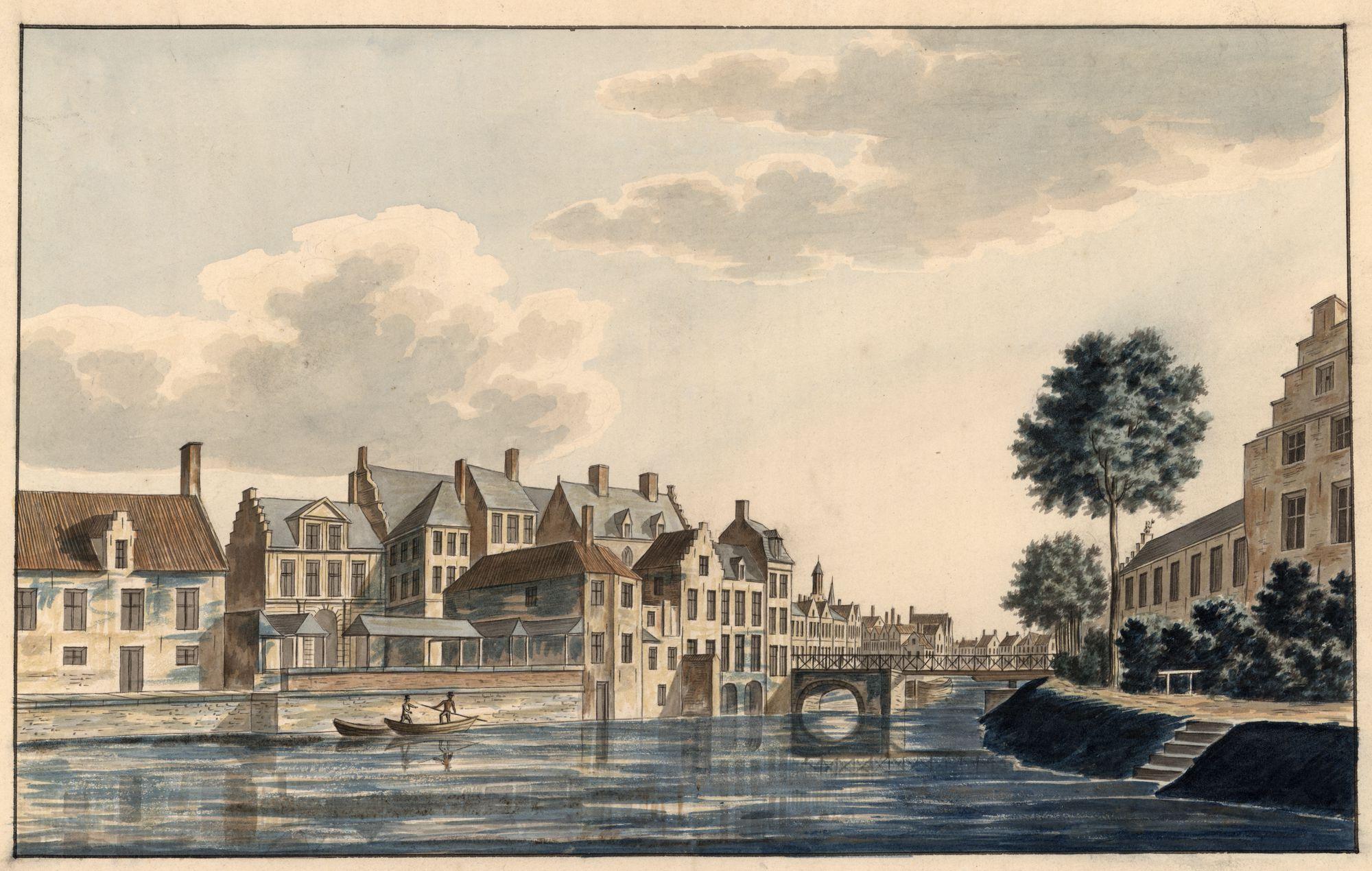 Gent: Leie, Vismijn (Vismarkt), Vleeshuisbrug en Vleeshuistragel, gezien van op de Grasbrug