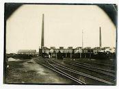 Gentbrugge: spoorwegstation Merelbeke: locomotiefloodsen, sporenbundel en schoorstenen, 1915-1916