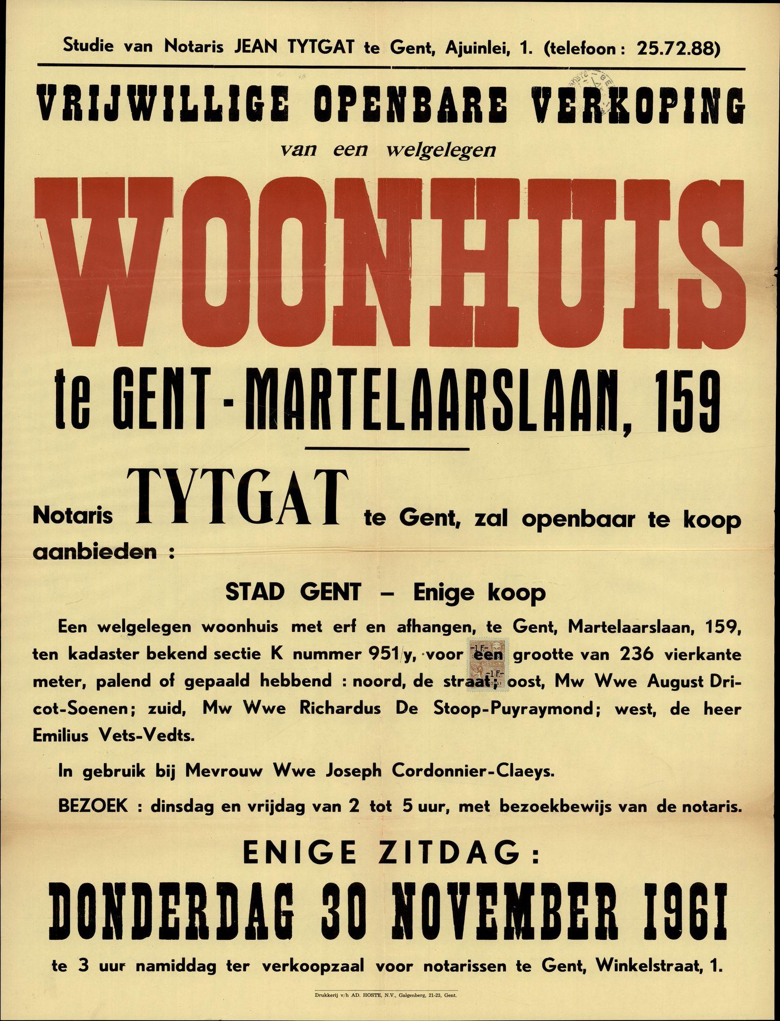 Vrijwillige openbare verkoop van een welgelegen woonhuis te Gent, Martelaarslaan, nrs.159, Gent, 30 november 1961
