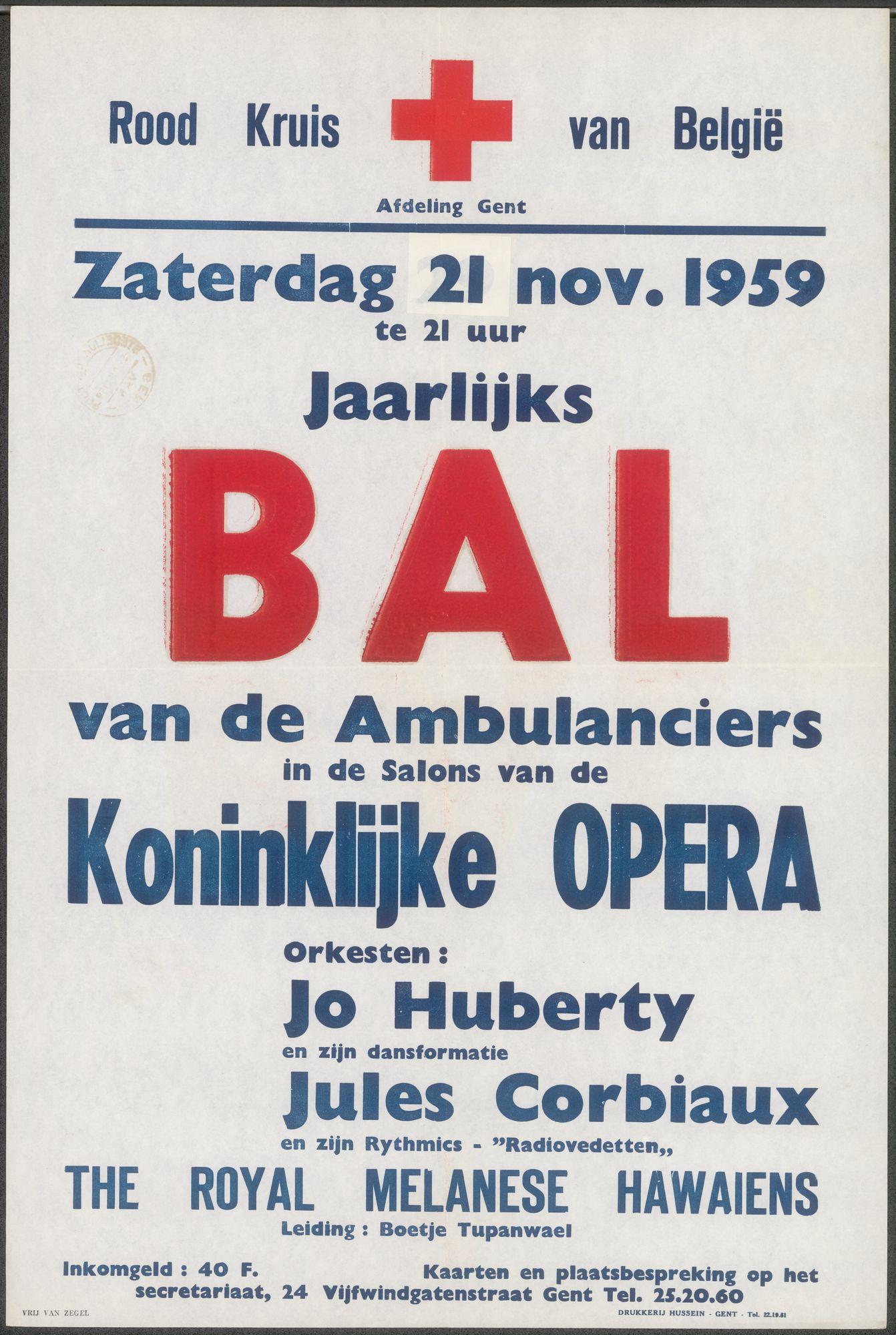 Jaarlijks Bal van de Ambulanciers. Rood Kruis (Rode Kruis) van België. Koninklijke Opera, Gent, 21 november 1959