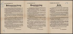 2 mob. Etappen-Kommandantur, Gent, Bekanntmachung | 2 mob. Etappenkommandantur, Gent, Kennisgeving | 2 Commandature mobile des Etapes, Gand, Avis.