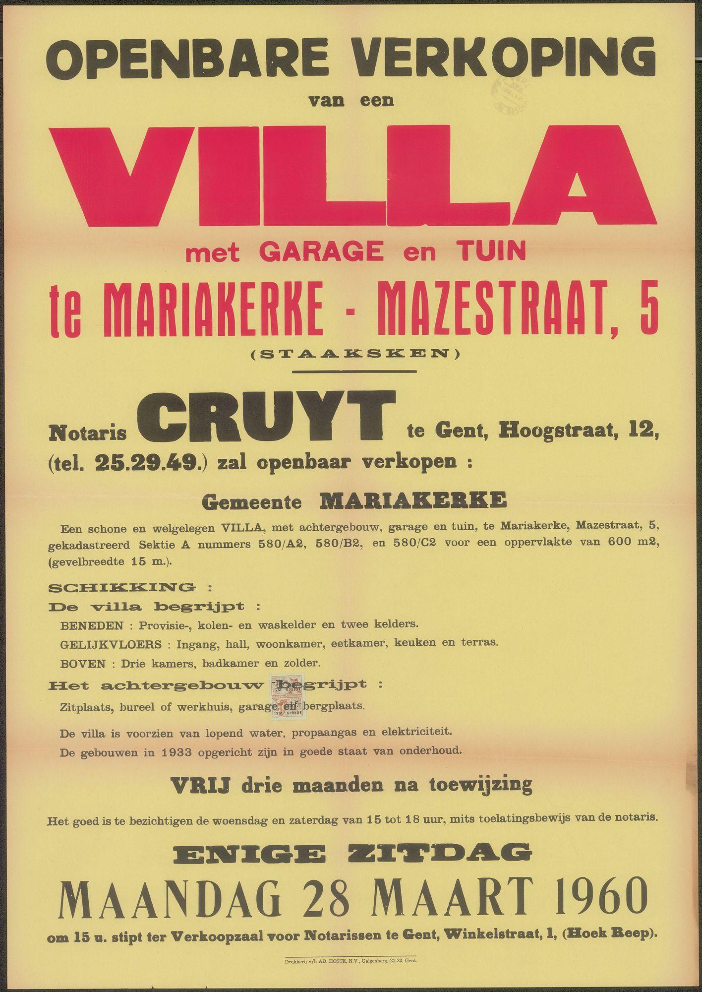 Openbare verkoop van een Villa met garage en tuin te Mariakerke - Mazestraat, nr. 5 (Staaksken), Gent, 28 maart 1960