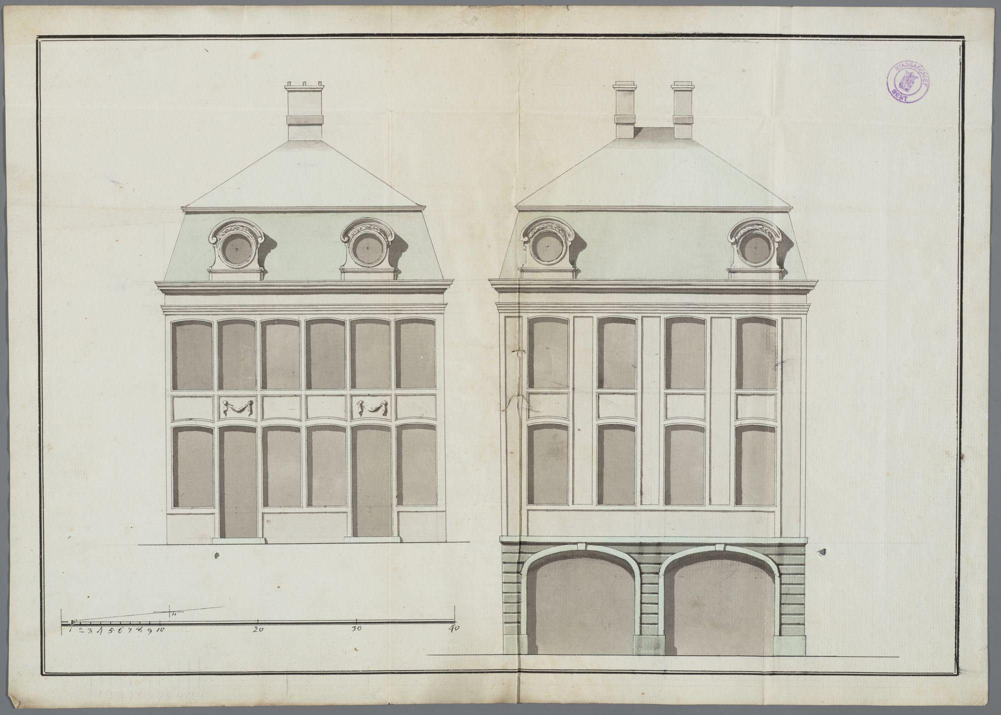 Gent: Walpoortbrug, 1771: opstand gevel