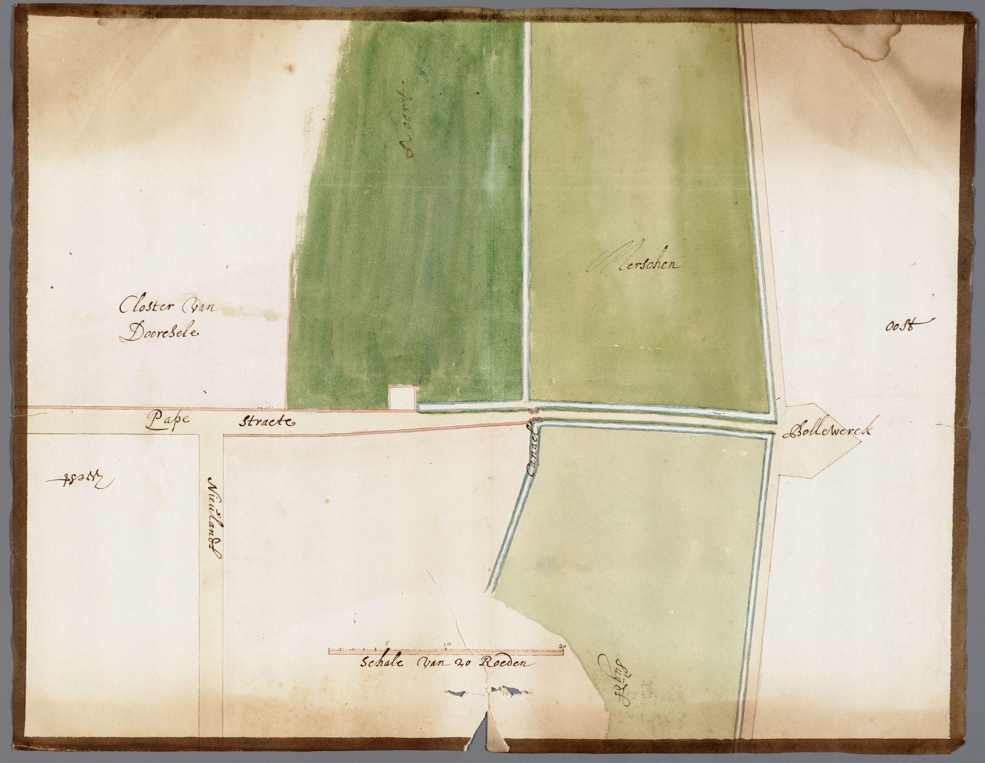 Gent: Doornzelestraat, 1670: kaart van de Doornzelestraat (voorheen Papestraat of Priesterstraat) en omgeving