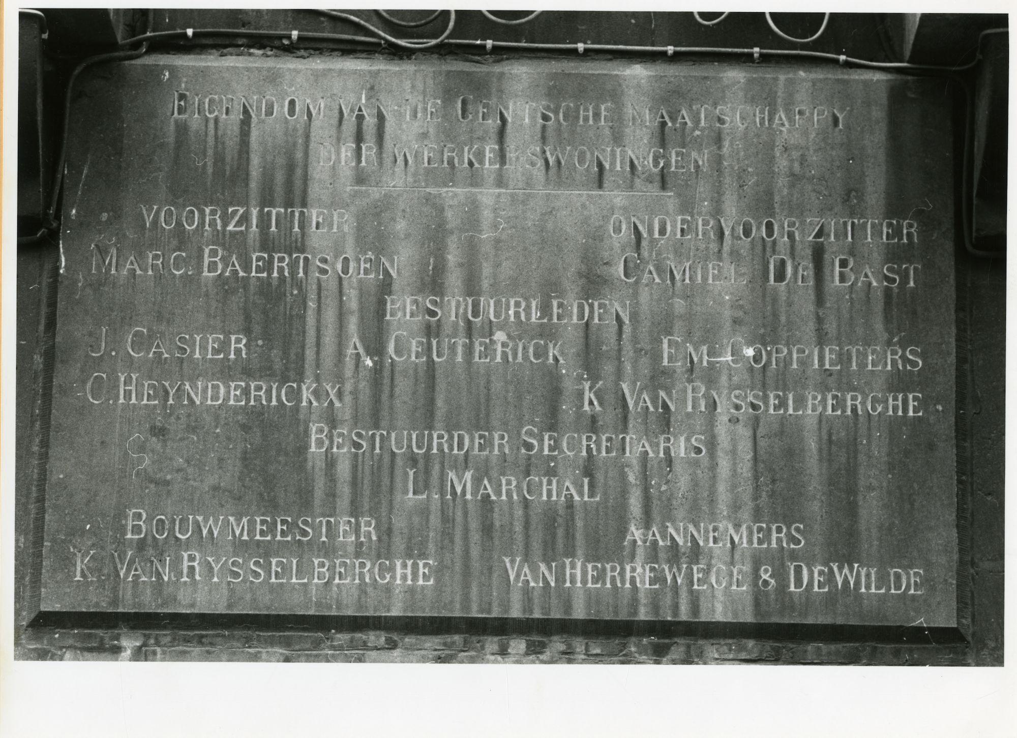 Gent: Biezenstuk 125-127: gedenkplaat, 1979