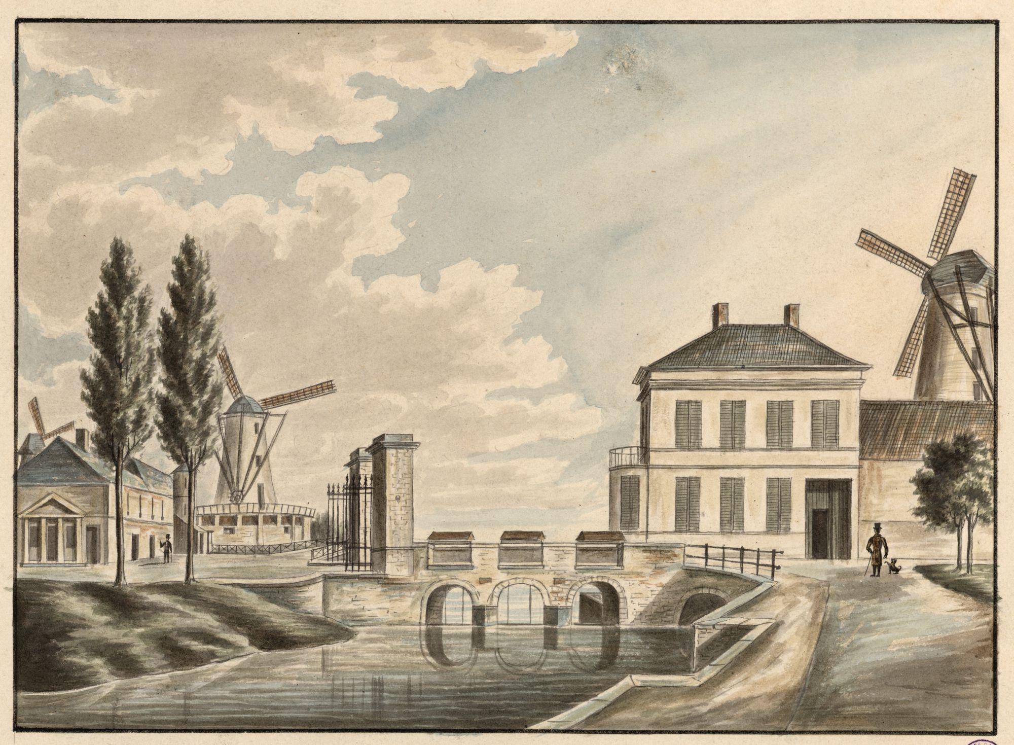 Gent: tolpoort aan Brusselsepoort of Keizerpoort, met sluis en windmolens