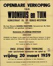 Openbare verkoop van woonhuis en tuin Kerkstraat, nr.19, Sint-Denijs-Westrem, Gent, 20 maart 1959