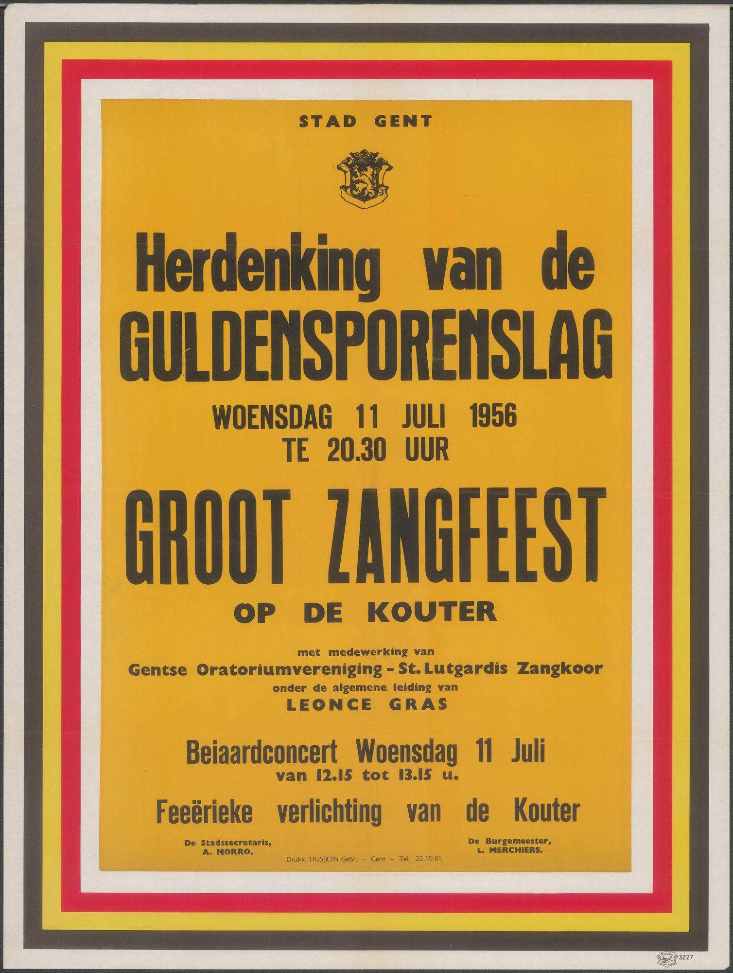 Herdenking van de Guldensporenslag, Groot zangfeest op de Kouter, Beiaardconcert, Gent, woensdag 11 juli 1956, Stad Gent