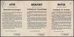 Avis, Déclaration des Etrangers  Bericht, Verklaring der Vreemdelingen   Notiz, Anmeldung der Fremden.