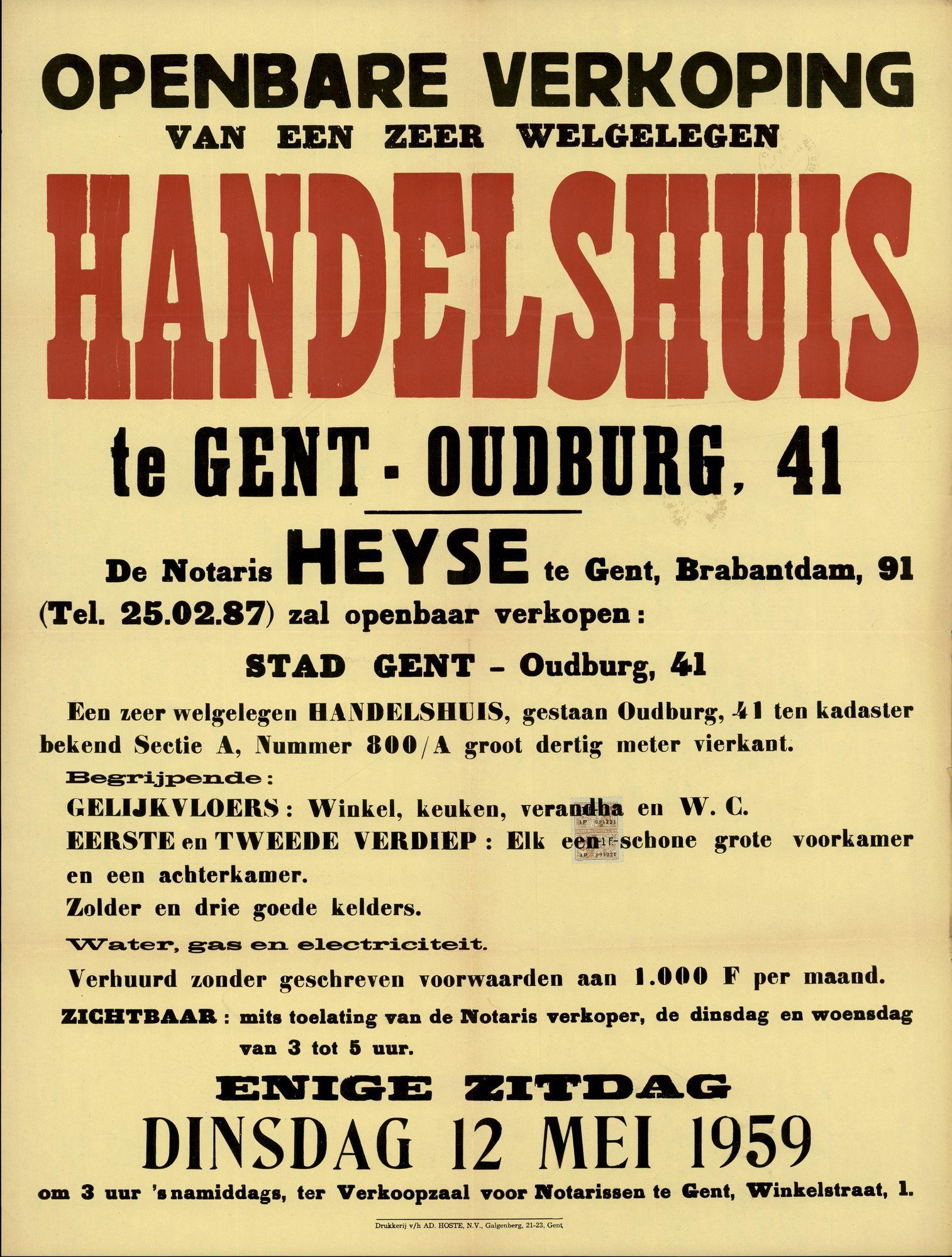 Openbare verkoop van een zeer welgelegen handelshuis te Gent, Oudburg, nr.41, Gent, 12 mei 1959