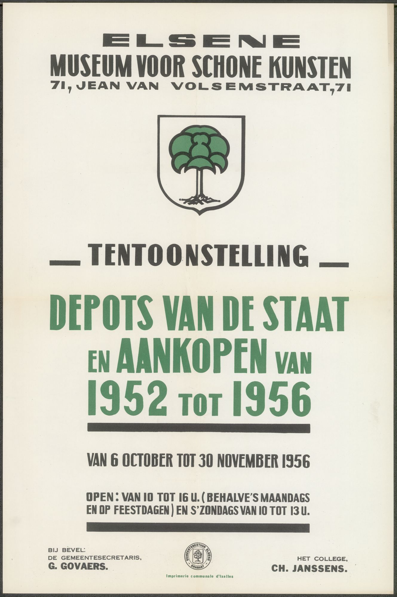 Tentoonstelling Depots van de Staat en aankopen van 1952 tot 1956, Museum voor Schone Kunsten, Elsene, 6 oktober - 30 november 1956