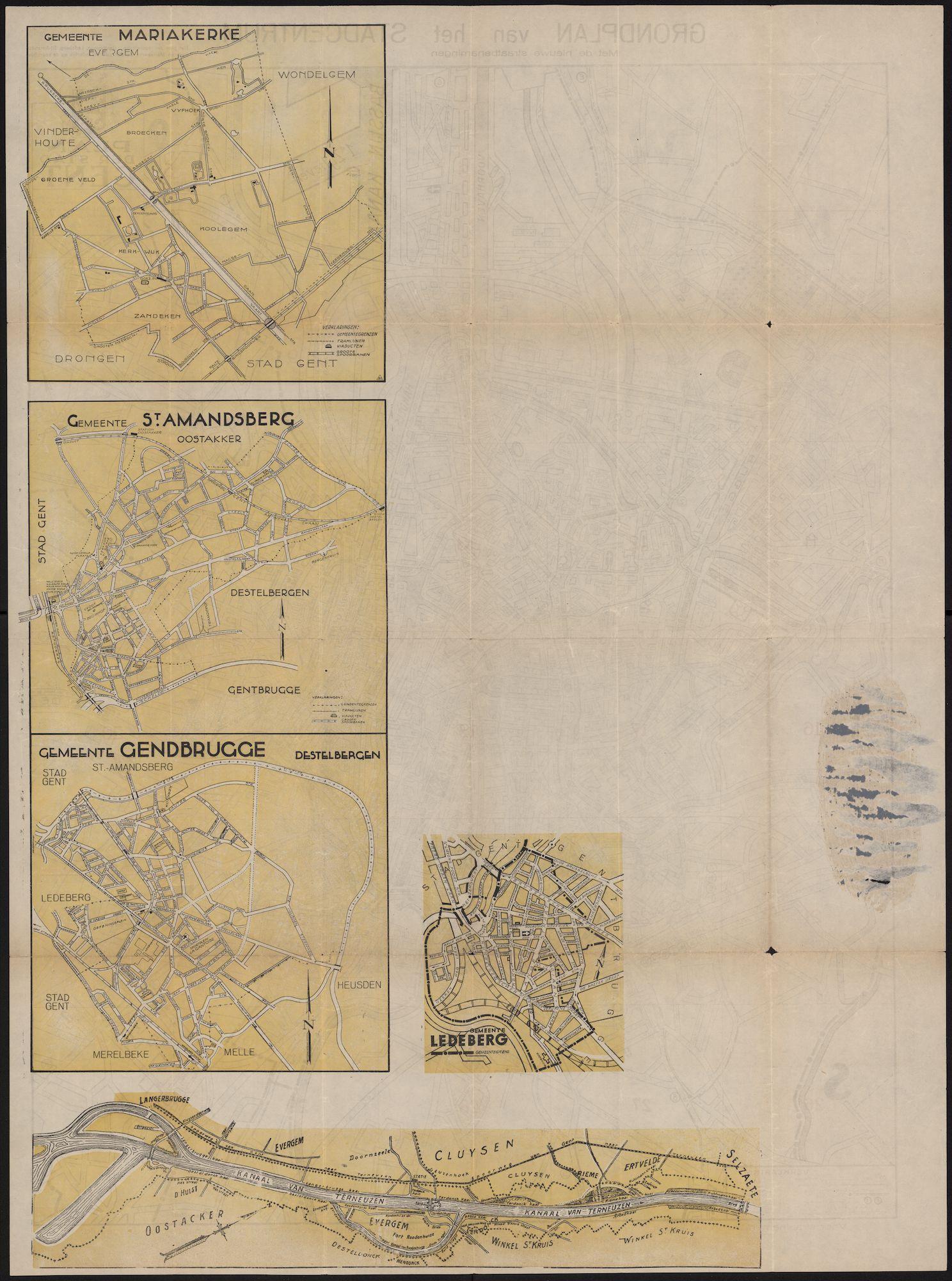 Kaarten van Mariakerke, Ledeberg, Gentbrugge en Sint-Amandsberg, randgemeenten van Gent, en van de haven van Gent, c.1950