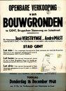 Openbare verkoop van bouwgronden te Gent, Brugschen Steenweg (Brugsesteenweg) en Jutestraat, Gent, 16 december 1948