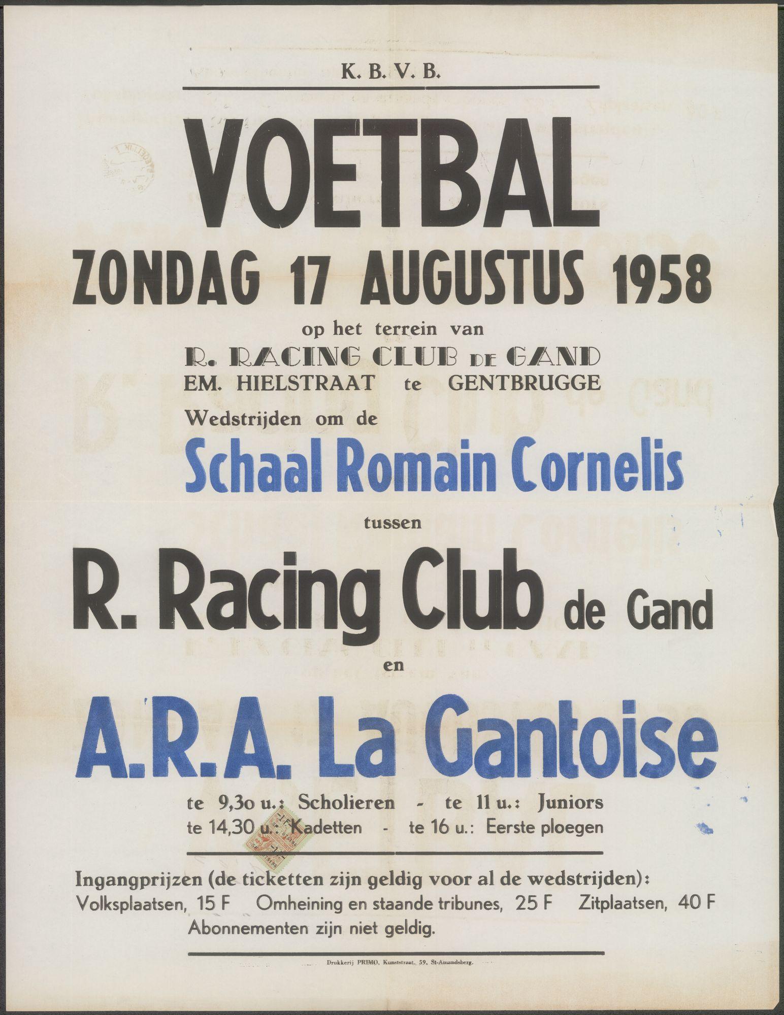 Voetbal, R.Racing Club de Gand - A.R.A. La Gantoise, op het terrein van R.Racing Club de Gand, Schaal Romain Cornelis, zondag 17 augustus 1958