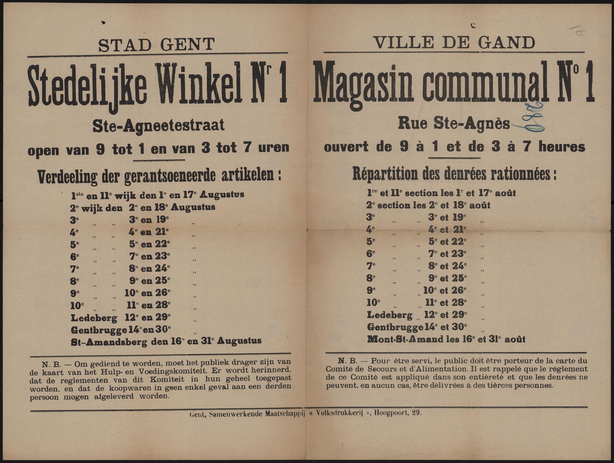 Stad Gent, Stedelijke Winkel Nr 1 Ste-Agneetestraat open van 9 tot 1 en van 3 tot 7 uren | Ville de Gand, Magasin communal N° 1 Rue Ste-Agnès ouvert de 9 à 1 et de 3 à 7 heures.