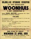 Vrijwillige openbare verkoop van zeer goedgelegen woonhuis te Gent, Loodsenstraat, nr.31, Gent, 22 april 1959