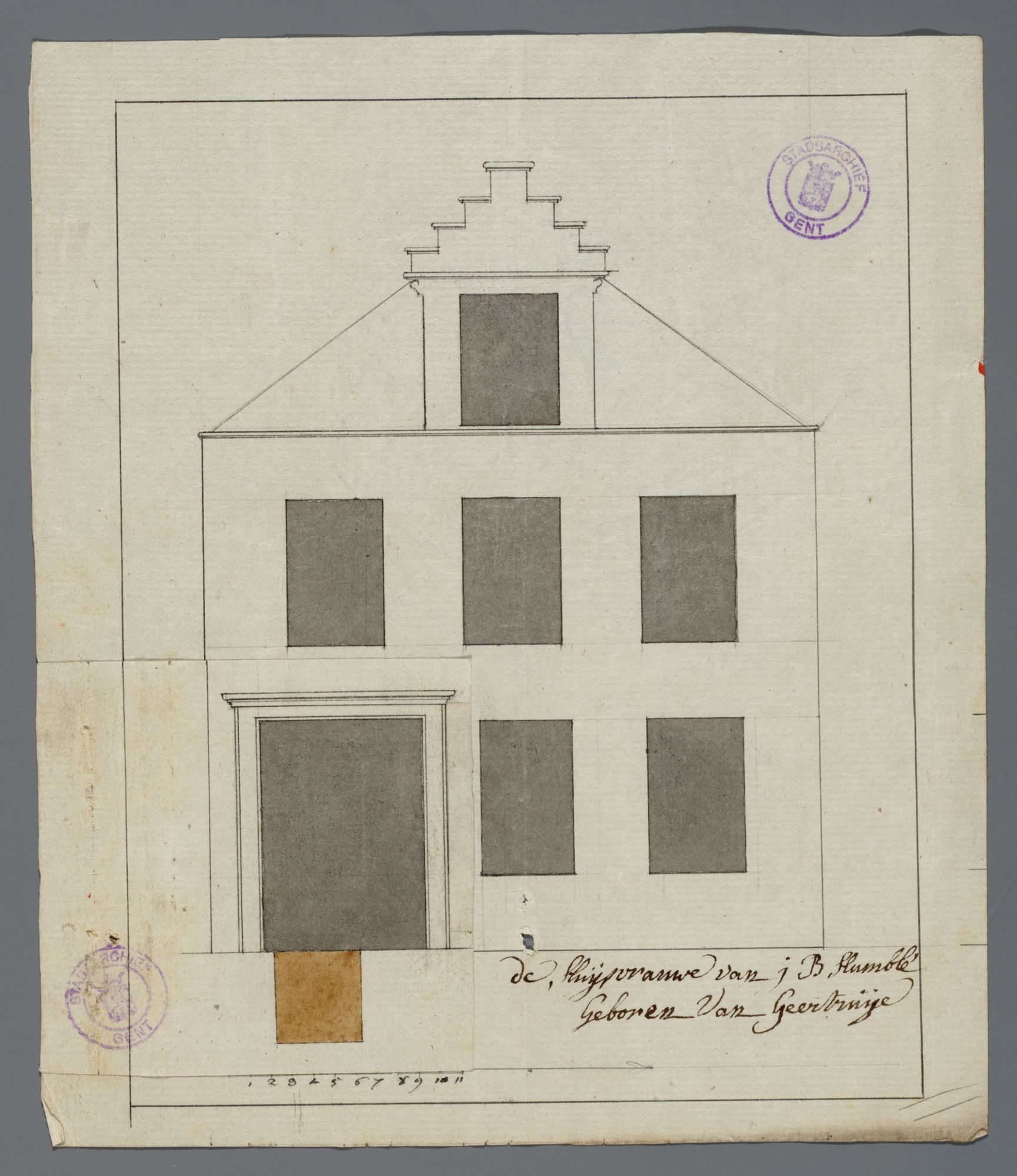 Gent: Waaistraat, 1791: opstand gevel