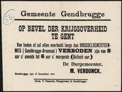 Gemeente Gendbrugge, Op bevel der krijgsoverheid te Gent.