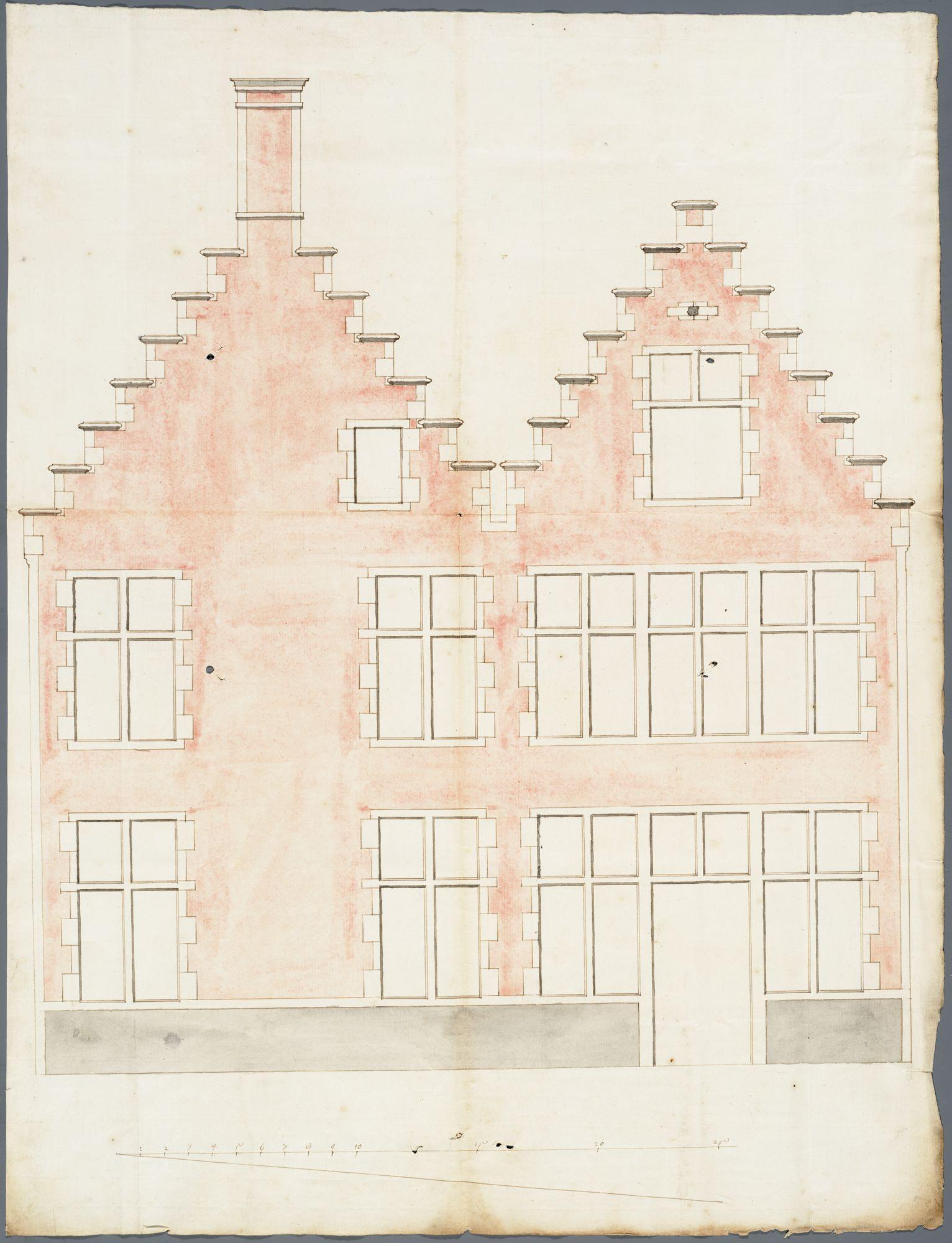 Gent: Ajuinlei, 1724: opstand voorgevel