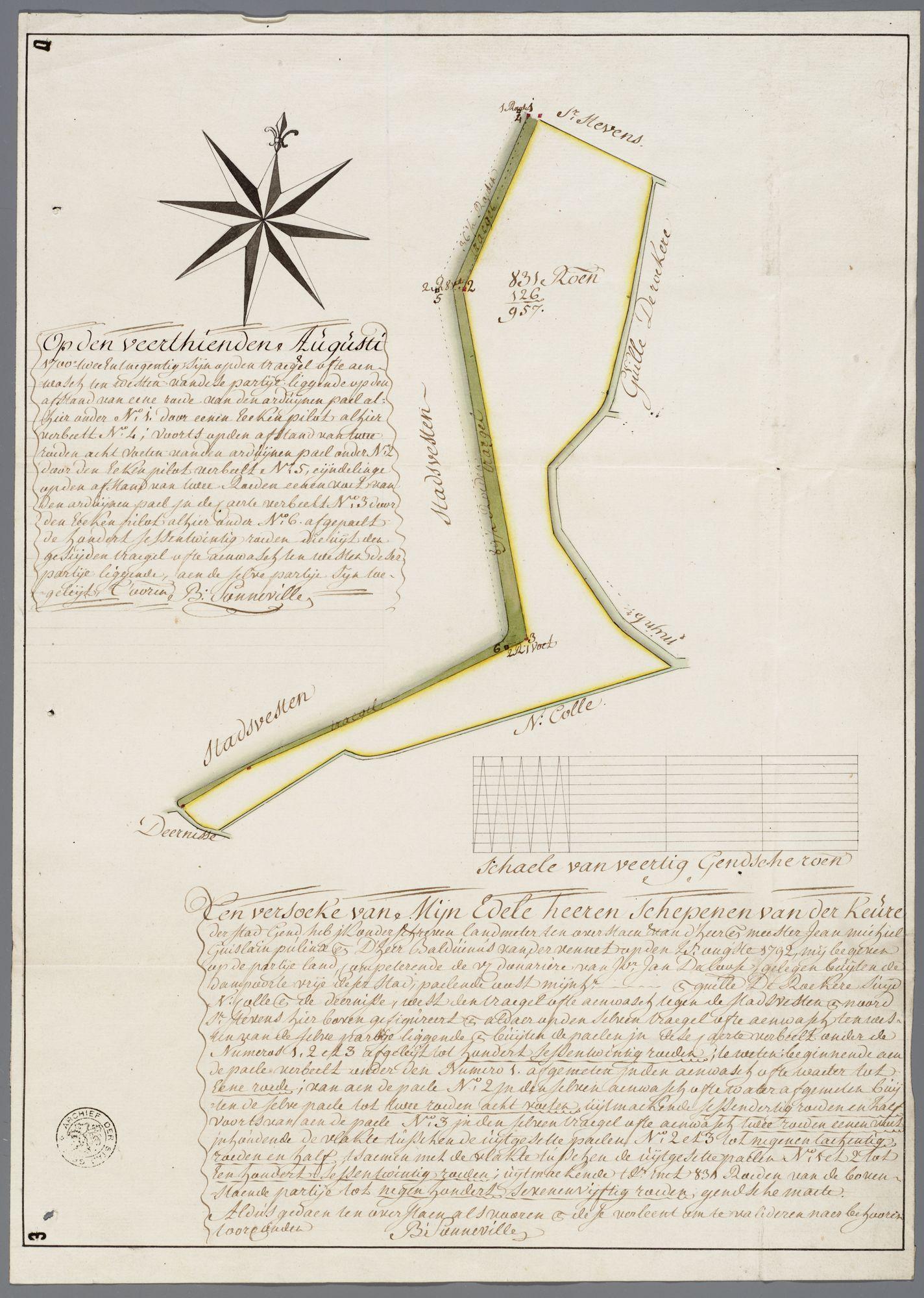 Gent: Buiten de Dampoort, 1792: kaart