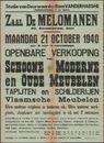 Openbare verkooping van schoone moderne en oude meubelen, tapijten en schilderijen Vlaamsche meubelen, Zaal De Melomanen, Gent, 1940