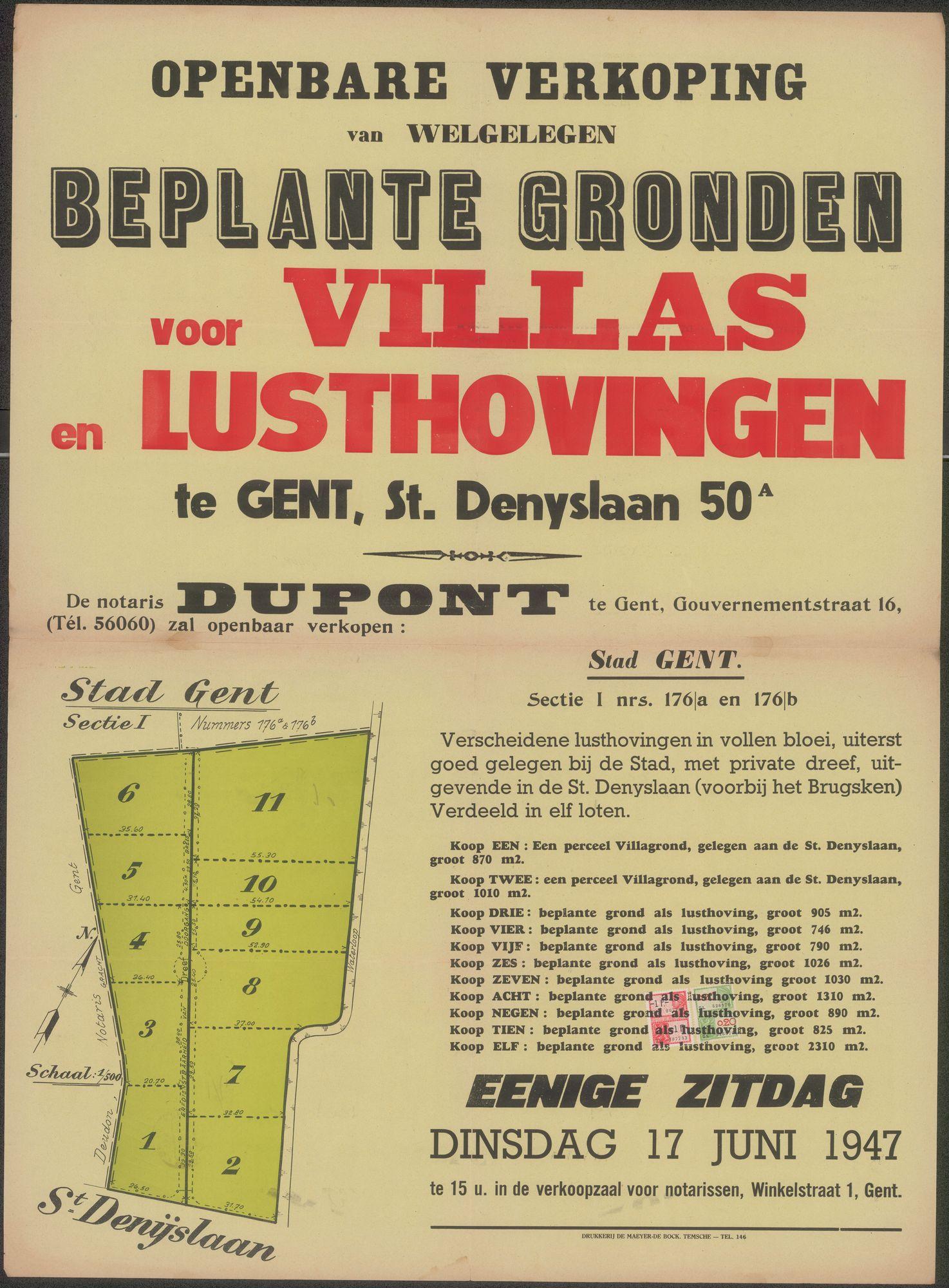 Openbare verkoop van welgelegen beplante gronden voor Villas en Lusthovingen te Gent, Sint-Denyslaan, nr.50, Gent, 17 juni 1947