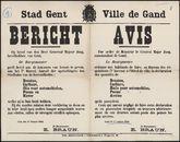 Stad Gent, Bericht   Ville de Gand, Avis.