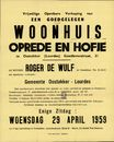 Vrijwillige openbare verkoop van een goedgelegen woonhuis, oprit en hofje te Oostakker (Lourdes) Goedlevenstraat, nr.31, Oostakker, 29 april 1959