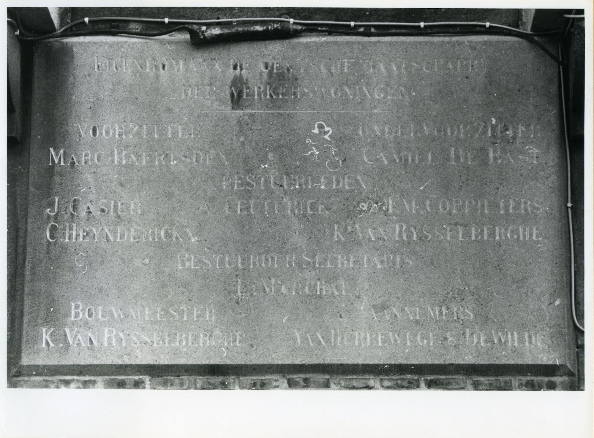 Gent: Zonnebloemstraat 36-38: Gedenksteen, 1979
