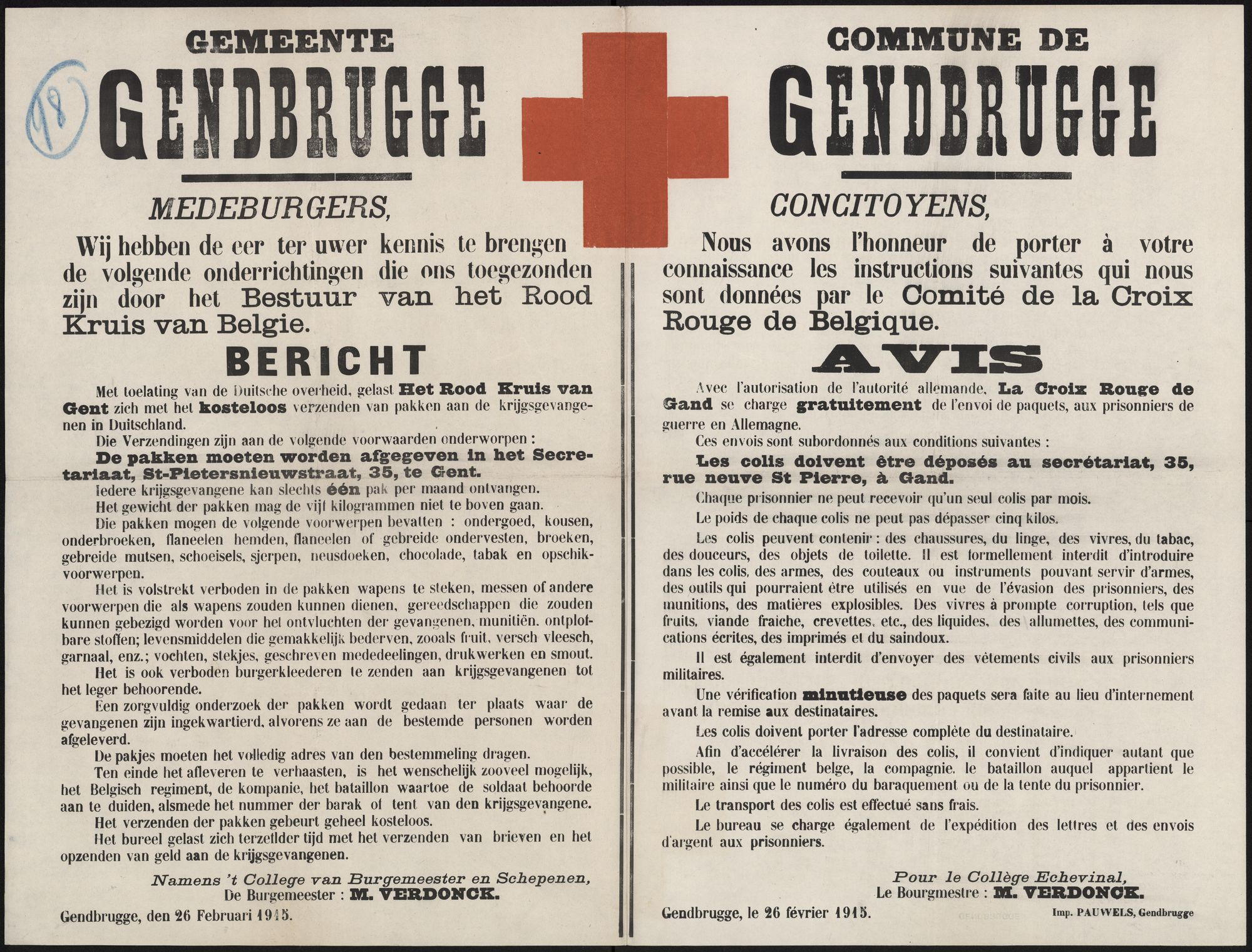 Gemeente Gendbrugge   Commune de Gendbrugge.